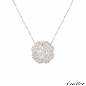 Cartier White Gold Diamond Clover 2001 Necklace